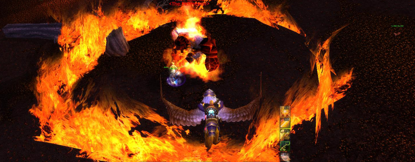 A gryphon rider flies above a circle of fire.
