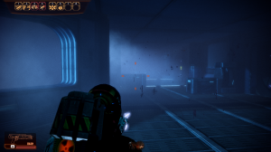 Shepard advances through an eerie environment.