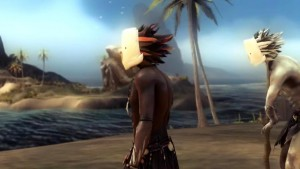 The tribes in From Dust have a minimalist approach to clothes, but do take the time to make their hair look spikey.