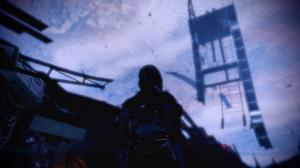 Spacewalk, with a ship falling apart.
