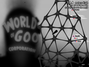 The World of Goo Corporation sandbox mode pits the player against other goo-ers around the world.  No where to go but up!