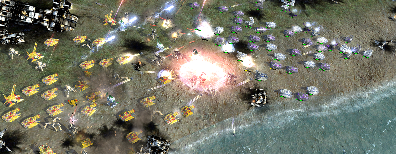 A hectic battle in Supreme Commander.
