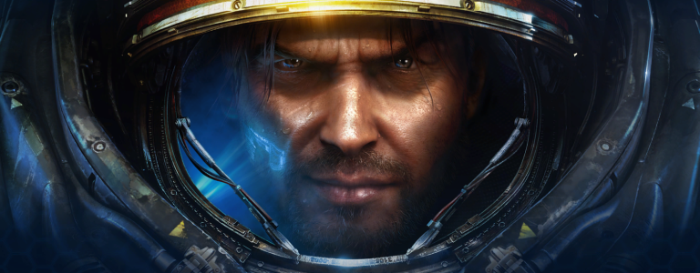 Jim Raynor's face in his marine armor.