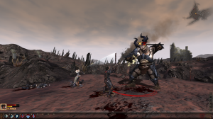 Hawke goes toe-to-toe with a vicious ogre while her sister throws fireballs at it.