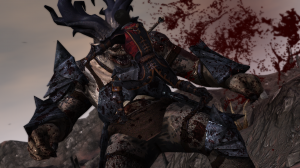 Hawke finishes off the ogre in a spectularly bloody fashion.  But that isn't quite how it happened.