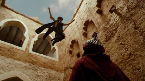 Dastan's martial ability is overshadowed by his ability to jump from place to place without breaking anything.