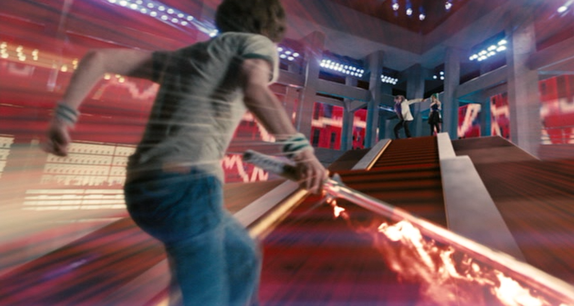 Scott Pilgrim charges into battle.