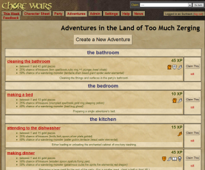 Chore Wars has a standard list of chores, but you can add more specialized ones if you'd like.