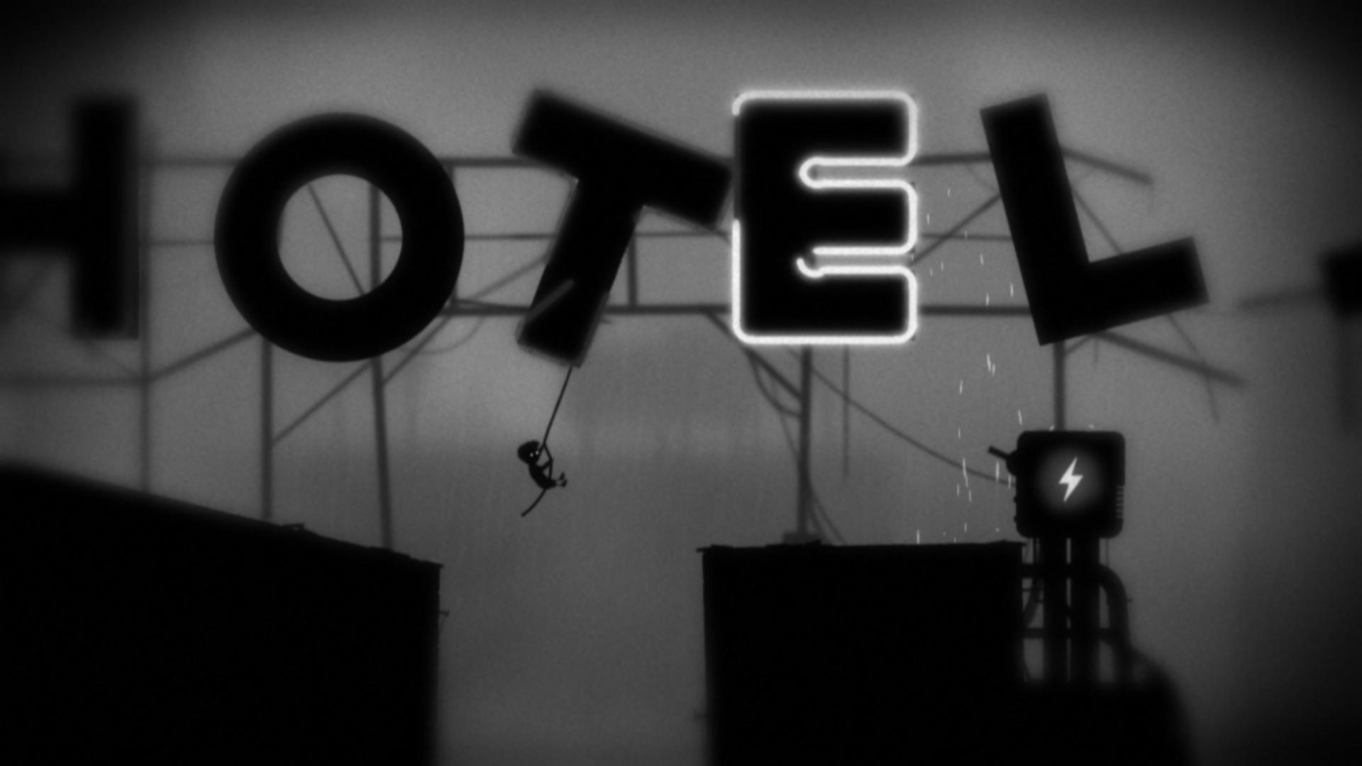A boy in Limbo swings on a Hotel sign.