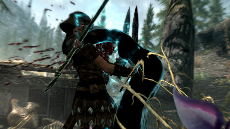 A warrior gets executed in Skyrim.