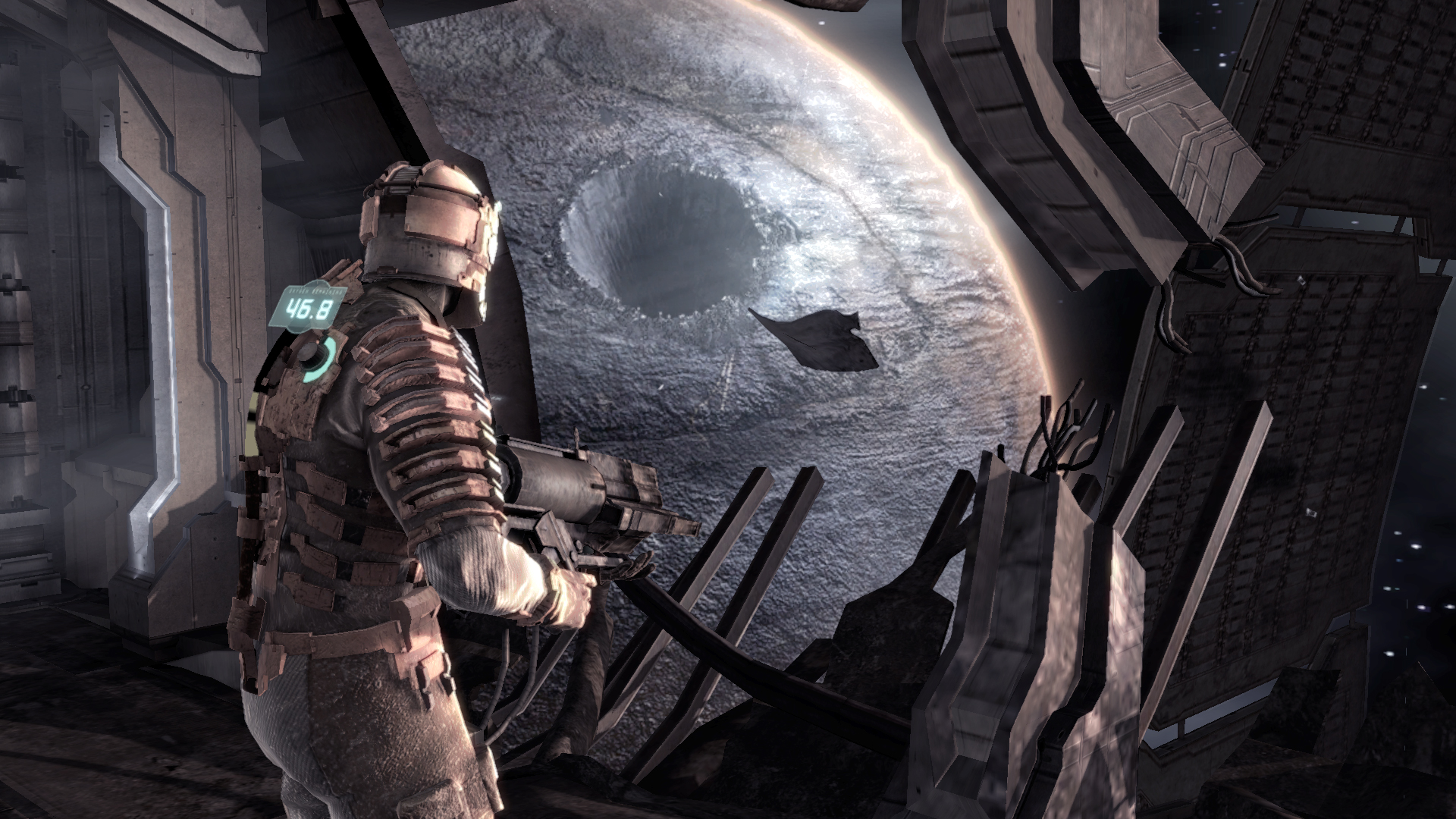 Dead Space's Isaac Clark views an enormous crater, the result of a Planetcracker class ship.