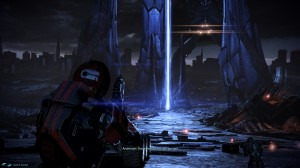 Shepard and what remains of the ground attack force make a final run to the teleportation beam.