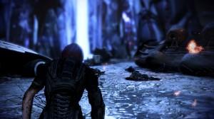 After regaining consciousness, Shepard limps toward the beam.