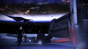 Shepard makes her decision as a Reaper does battle with vessels in the background.