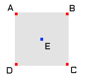 Step 2, set the value for the square's center point, point E.