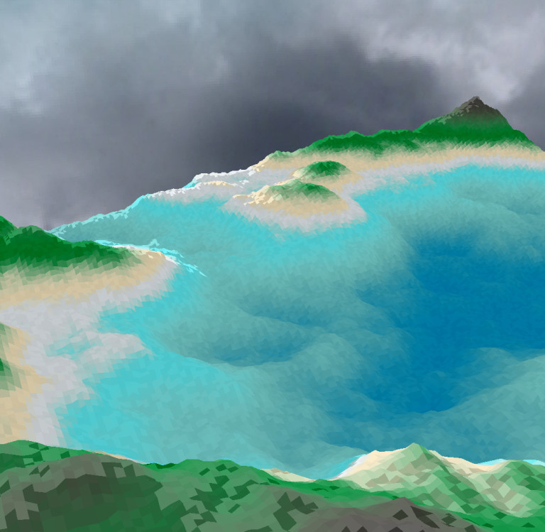 A tropical, pixelated world.