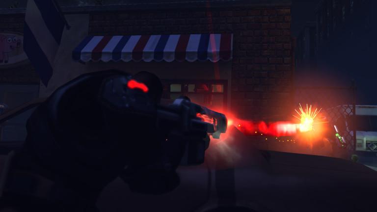 An XCOM soldier fires a laser rifle.
