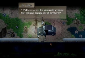 """""""Well, excuse me for heroically evading that squirrel coming out of nowhere!"""" The game uses the humor of Watts to offset the gravity of the story."""