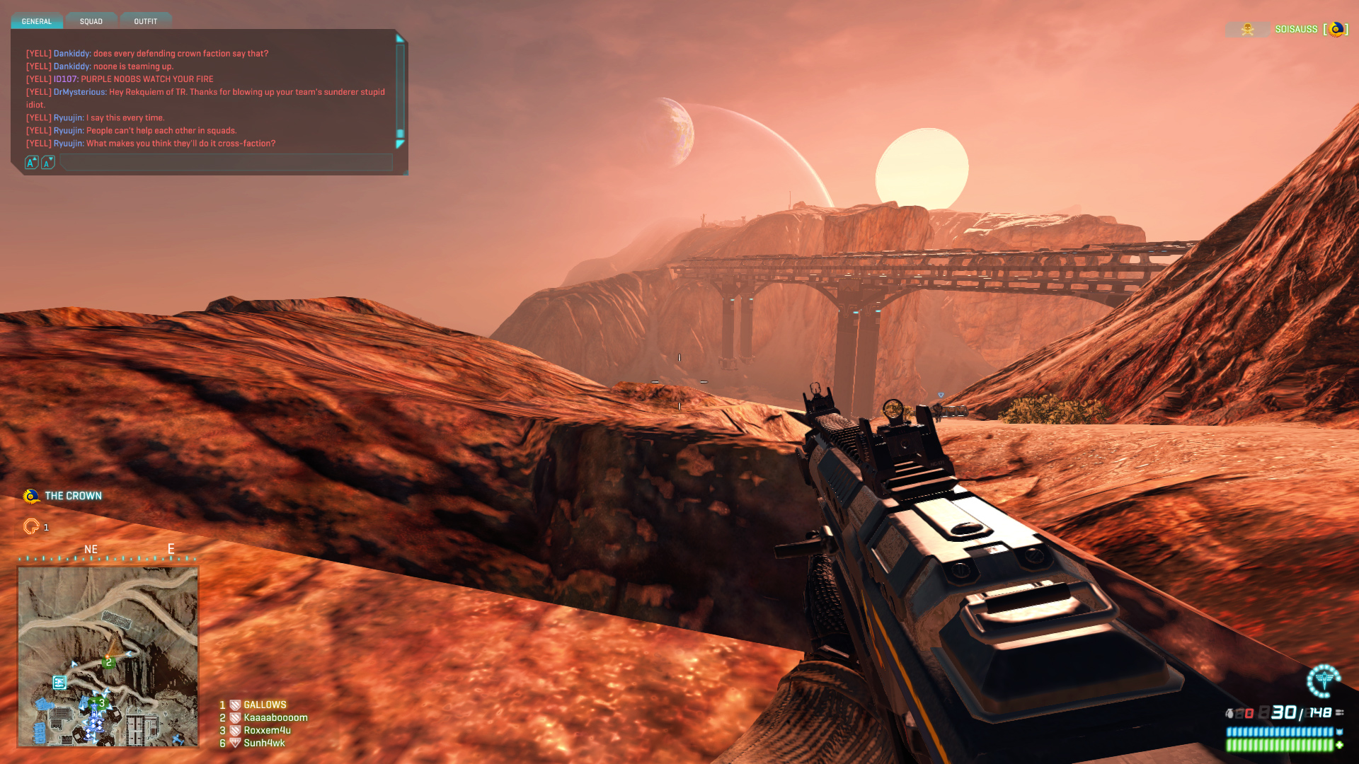 A soldier watches the sunset in Indar, an arid continent in Planetside.