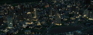 The game cycles between day and night, with sims commuting from their homes to their jobs.