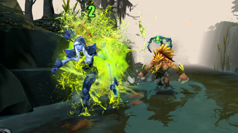 Drow Ranger runs down the river, with Bristleback and Viper in hot pursuit.