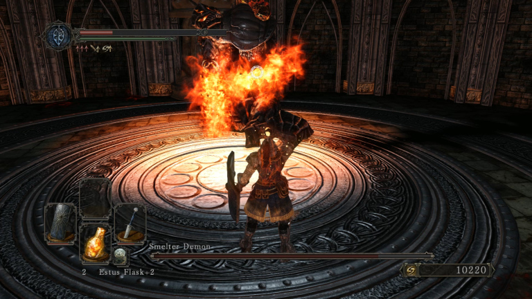 I quaff an estus flask in a battle with the Smelter Demon. I exploded about half a second after this shot.