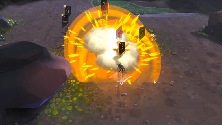 A Bulwark getting hit with an Alchemist's flask.