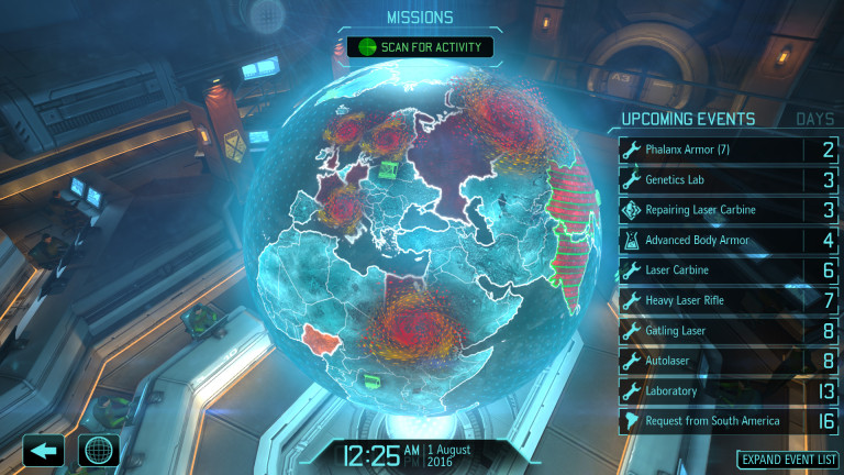 The Hologlobe from XCOM, showing a number of nations having left the project.