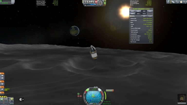 The landing pod approaches the Munar surface.