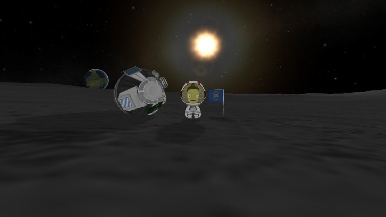 Valentina Kerman on the Munar surface, next to the Nerdsworth Academy flag.