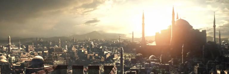 The Sun rises over a city.