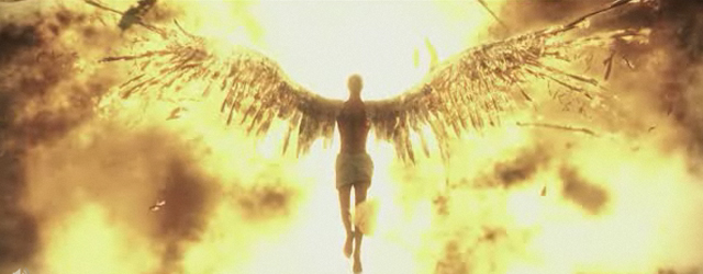 A vision of Icarus, his wings on fire.