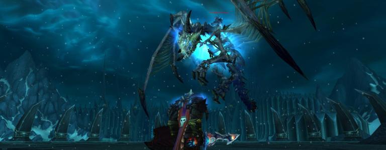 A paladin observes an undead dragon.