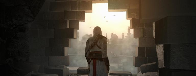 An assassin walks through a broken wall.