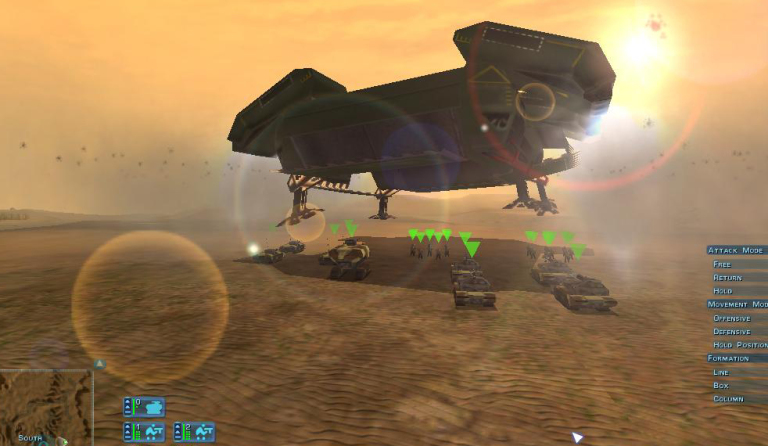 A dropship unloads troops to the battle.