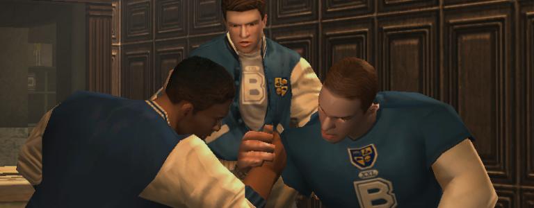 Students arm wrestle.