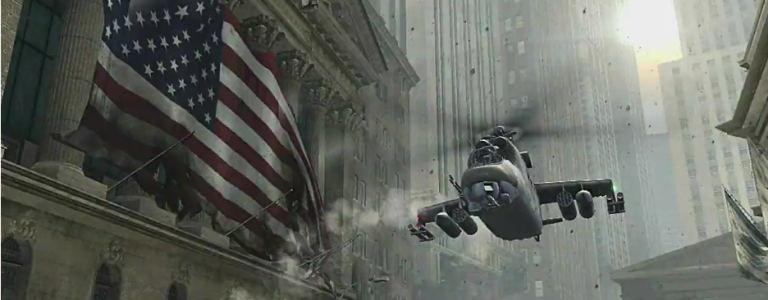 A helicopter floats through New York City in Call of Duty.