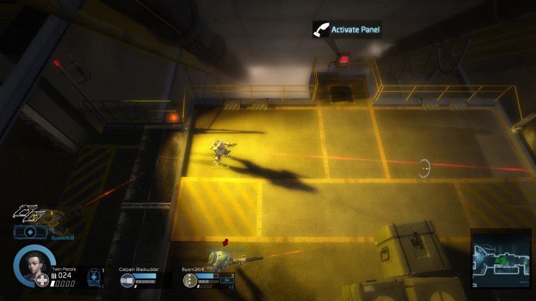 A soldier walks into the yellow light, casting a shadow.