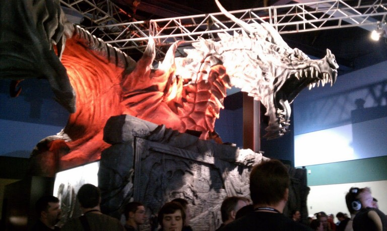 A giant Skyrim dragon... in Seattle.