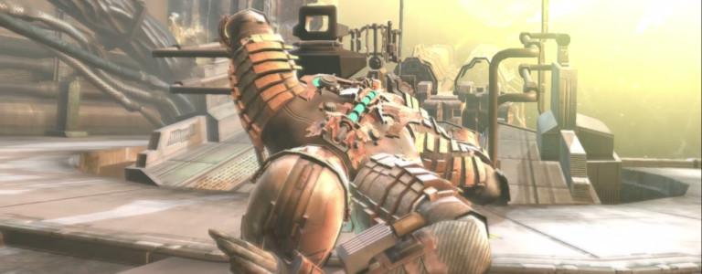 Isaac Clark falls forward to avoid an explosion.