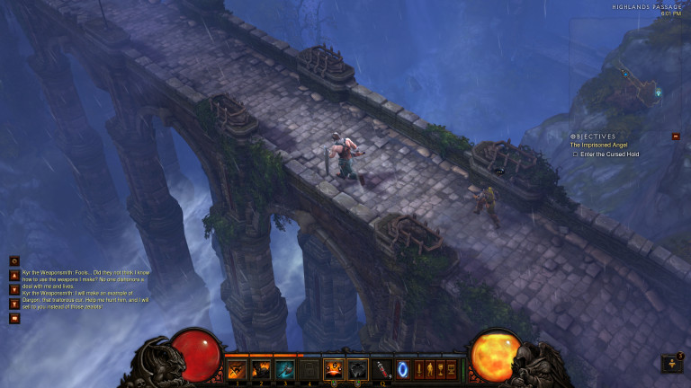 A hero crosses a stone bridge.