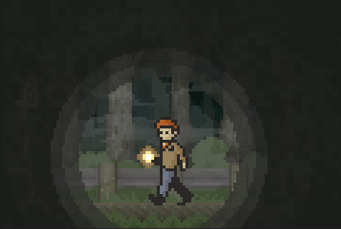 The protagonist walks through the forest.