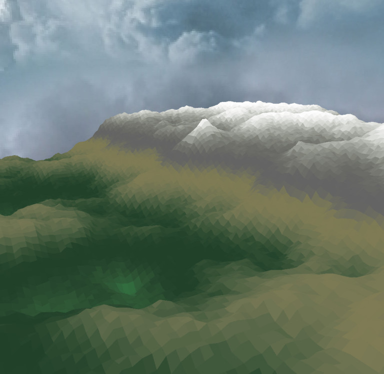 A rather poorly rendered mountain.