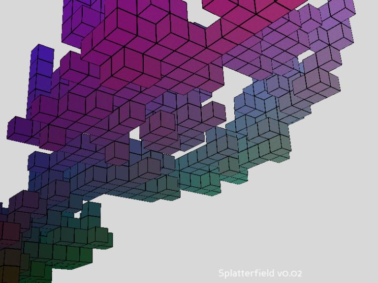 Blocks hovering in space.