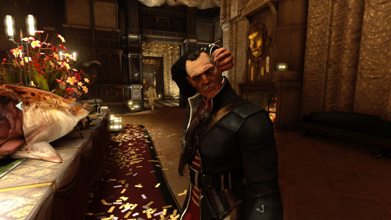 A Dishonored character scratches his head at a feast.