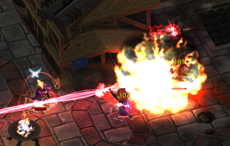 Two wizards duel with fire and lasers.