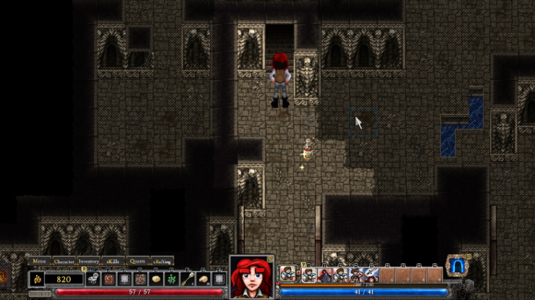 Bloodhawk II arrives at the stairs to the third level of Dredmor's dungeon.