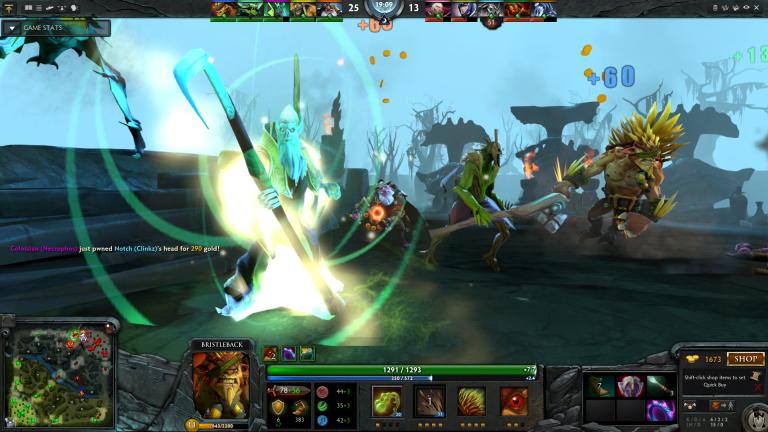 Necrophos, Sniper, and Bristleback assault the Dire base.