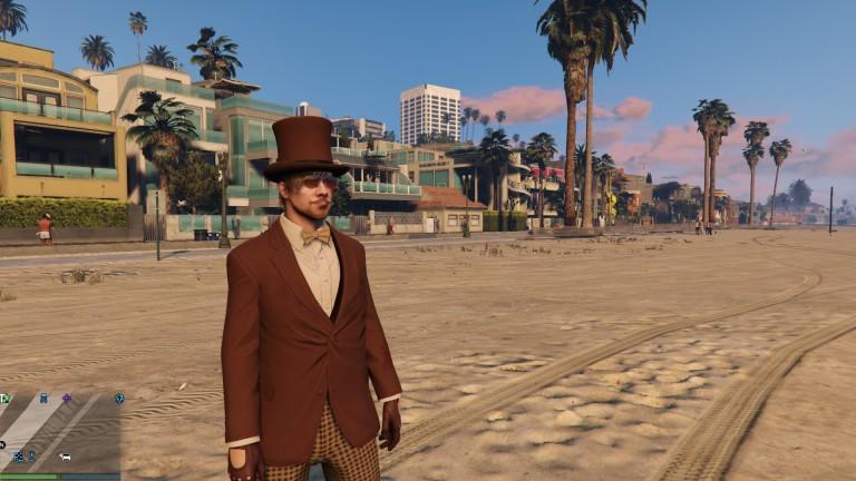 Nerdsworth enjoying the beach at San Andreas.