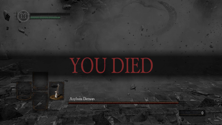 """A scene from Dark Souls, with the player recently killed by the Asylum Demon. """"You Died""""."""